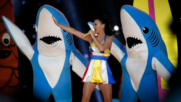 Katy Perry performs during the halftime show at the NFL Super Bowl XLIX football game between the Seattle Seahawks and the New England Patriots in Glendale, Ariz., Feb. 1. The comical dancing of the shark on the left was talked about all over the internet.