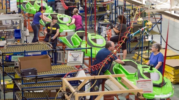 Employees work on the SeaDoo assembly line at the Bombardier Recreational Products plant on June 12, 2014.  The manufacturing PMI in Canada was lower in January, though still in positive territory.