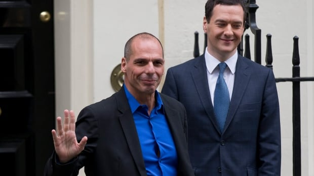 Greece's new finance minister Yanis British Finance Minister George Osborne, right, bids farewell to  waves at the media after meeting with British Finance Minister George Osborne, right, on Monday.  He is moderating his demands for a writeoff of Greek debt, raising hopes of a compromise.
