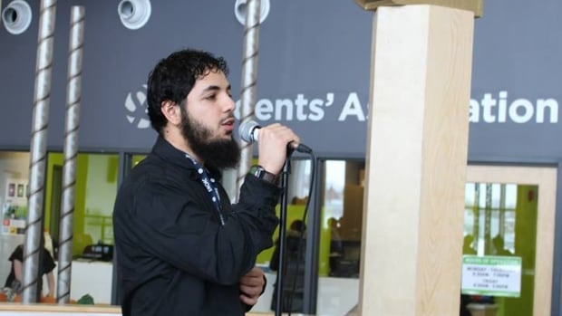 Awso Peshdary, seen here giving a speech at Algonquin College's Muslim Student Association Islamic Awareness Week in 2014, was arrested Tuesday in Ottawa.