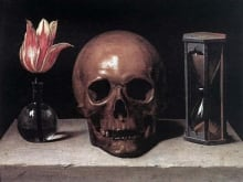 """Still Life with Skull"", a flower, a skull and an hourglass stand for Life, Death and Time in this 17th-century painting by Philippe de Champaigne."