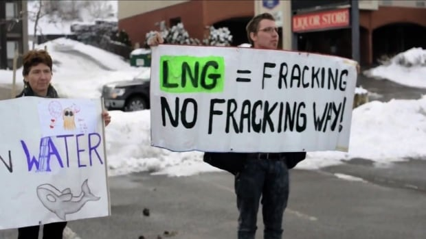 Protesters at an LNG career fair in Kamloops, B.C.