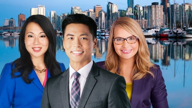 Hosts Miyoung Lee and Andrew Chang, and meteorologist Johanna Wagstaffe are part of the CBC News team in Vancouver.