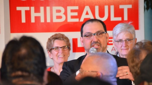 Newly elected Liberal MPP Glenn Thibeault addresses a room jammed with supporters on the night of the Sudbury byelection.