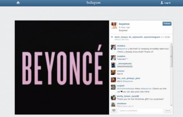 Beyonce Surprise Instagram