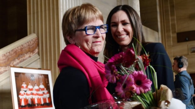 Lee Carter, left, and Grace Pastine of the British Columbia Civil Liberties Association celebrate at The Supreme Court of Canada Feb. 6, 2015, after the court struck down the ban on physician-assisted death.