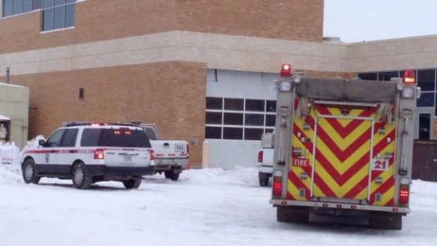 Emergency service crews on scene at the water treatment plant on 11th Street in Saskatoon.