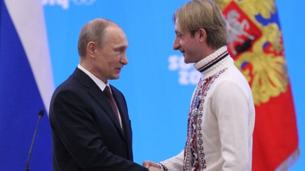 Figure skater Evgeny Plushenko, right, returned to lead Russia to gold in the inaugural team event and ignited a nation in the process. But for Russian President Vladimir Putin, the smell of corruption was pervasive in light of the gigantic cost of building the miraculous infrastructure in Sochi.