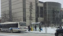 thunder bay bus outside city hall, winter