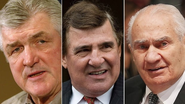 From left, former NHL player, coach and GM Pat Quinn, Montreal Canadiens legend Serge Savard and longtime league executive Jim Gregory received the Order of Hockey in Canada on Tuesday. They'll be honoured at a gala in June.