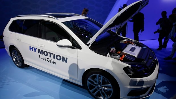 The Volkswagen Golf HY Motion Fuel Cell car is introduced during the Los Angeles Auto Show on Nov. 19, 2014, in Los Angeles. Ballard Power Systems has an engineering contract on the fuel cell system.