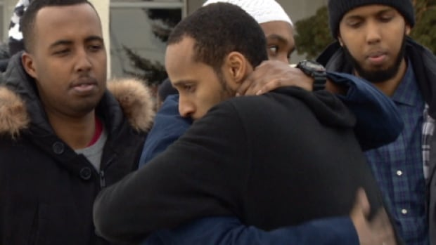 Mourners gather for the funeral of Mustafa Mattan at the Al Rashid Mosque in Edmonton Thursday.
