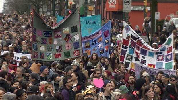 The Women's Memorial March in Vancouver is now in its 26th year. It's the first since the federal government committed to a national inquiry into murdered and missing women.