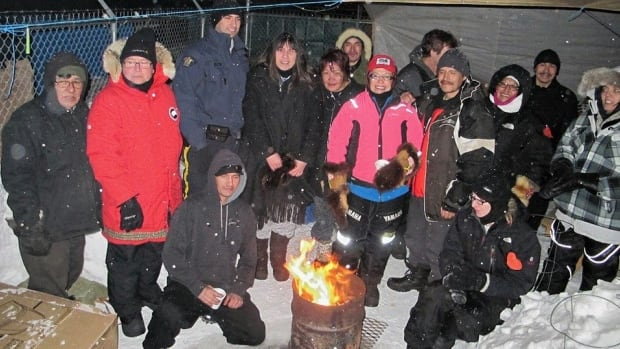 Lac La Ronge Indian Band Chief Tammy Cook-Searson is pictured with a group who slept outside to raise money for Scattered Site Outreach Program in La Ronge.