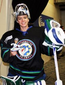 Shannon Szabados with bobblehead