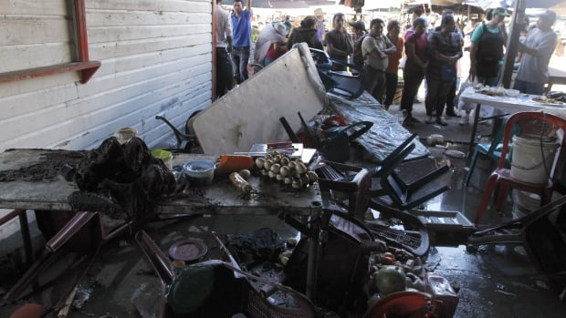 A gas cylinder is believed to have exploded in this farmer's market in Tegucigalpa.