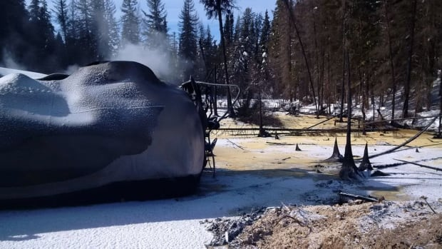 Side view of ruptured tank car near Gogama, Ont. Last month, a CN train released over one million litres of crude oil after it derailed.