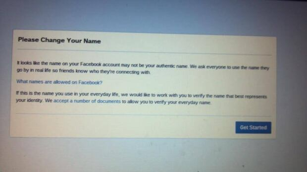 """Dana Lone Hill was told that it appeared the name she shares with her mother """"may not be your authentic name,"""" in this error message on Facebook."""