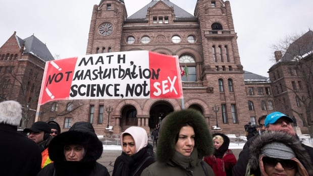 Opponents of the new Ontario sex-ed curriculum have held protests, such as this Feb. 24 demonstration at Queen's Park in Toronto.