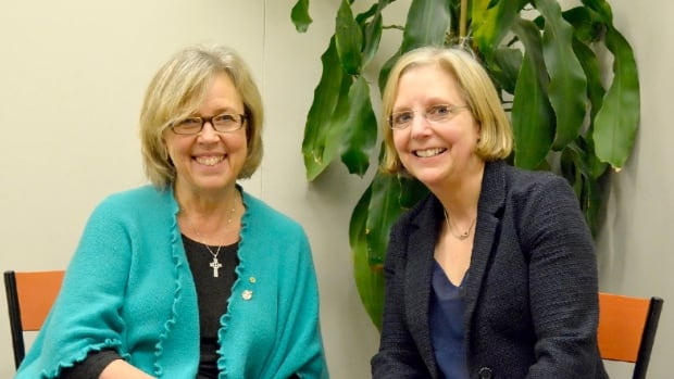 Green Party Leader Elizabeth May (left) announced Thursday that former Liberal leadership candidate Deborah Coyne (right) will serve as her policy adviser.