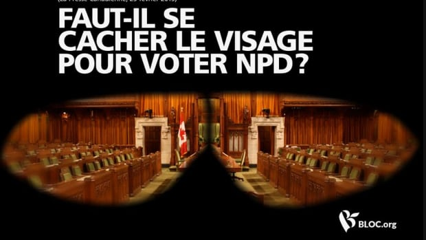 The Bloc Québécois ad asks whether it's necessary to hide one's face in order to vote for the NDP, referring to NDP Leader Tom Mulcair's view on the wearing of niqabs at citizenship ceremonies.