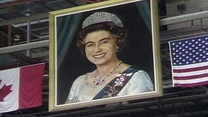 Queen portrait at old Winnipeg Arena