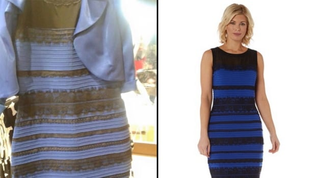 A Tumblr user unwittingly started an internet sensation on Thursday night by asking whether the above dress was white and gold, or blue and black. A photo on the right shows the actual dress from Roman Originals.