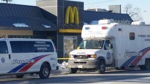 Police mark off Danforth McDonald's after shooting