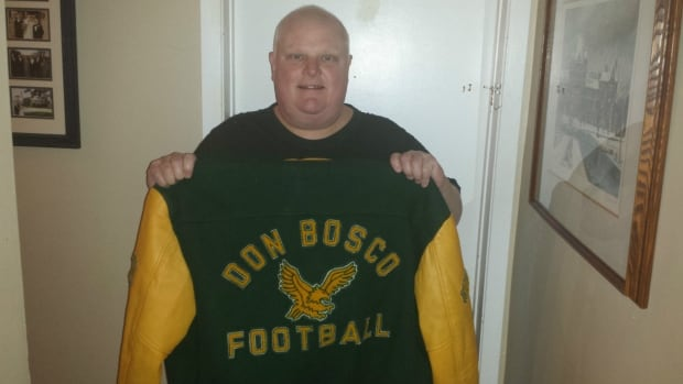 Coun. Rob Ford is selling the jacket he wore when he used to coach the Don Bosco Eagles.