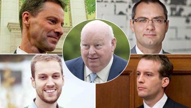 The trial for suspended senator Mike Duffy, centre, is scheduled to begin April 7. The trial will hear from current and former PMO staffers, including, clockwise from upper left, Nigel Wright, Benjamin Perrin, Ray Novak and David van Hemmen.