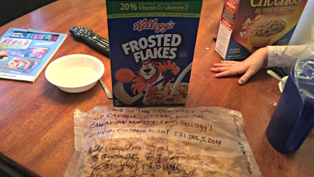The last box of cereal produced at Kellogg's London, Ontario factory, signed by the workers who made it. It was bought by Stephane Gaudette in Timmins, Ontario.