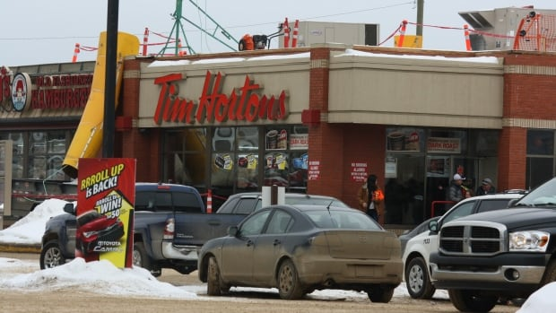Just another busy day at the Tim Hortons in downtown Fort McMurray.
