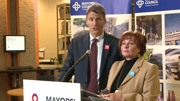 Vancouver Mayor Gregor Robertson and Surrey Mayor Linda Hepner announced on Thursday that Jimmy Pattison will head an oversight committee if the transit referendum passes.