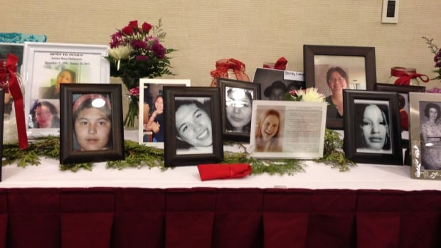 Photos of missing and murdered indigenous women at the national round table in Ottawa February 27.