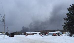 Gogama derailment - smoke rises