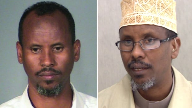 Calgary Imam Abdi Hersy, seen on the left in a Washington County Sheriff's Office booking photo and on the right in a still image from a CBC interview,  is wanted in the United States on outstanding criminal charges connected to two alleged sexual assaults. He was in court to appeal termination of his refugee status.