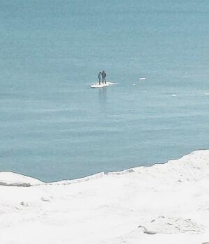 Lake Michigan Ice Chunk teens
