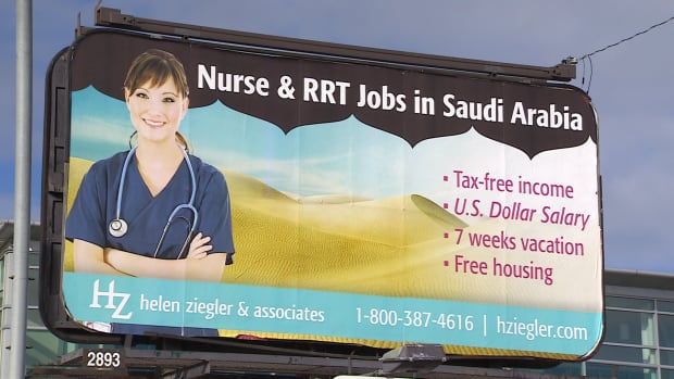 A billboard on 118th Avenue in Edmonton petitions for nurses to work in Saudi Arabia.