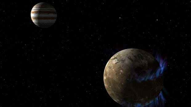 In this artist's concept, the moon Ganymede orbits the giant planet Jupiter. NASA's Hubble Space Telescope observed auroras on the moon generated by Ganymede's magnetic fields. A saltwater ocean under the moon's icy crust best explains shifting in the auroral belts measured by Hubble.