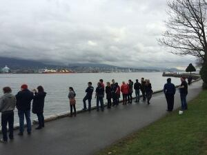 Killer whale spotters lined Stanley Park Seawall