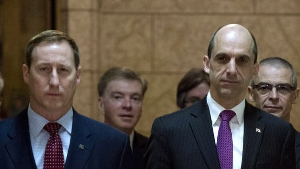 Justice Minister Peter MacKay, left, and Public Safety Minister Steven Blaney, right, arrive at the House public safety committee meeting on Bill C-51. The committee has been rife with controversy over procedural matters.