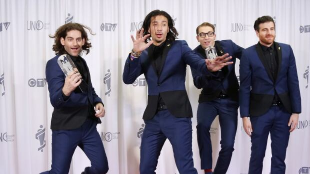 Magic! poses backstage after winning the Juno for Single of the Year at the 2015 Juno Awards.