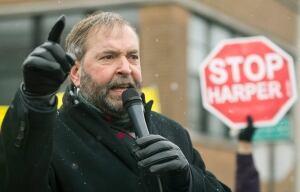 Tom Mulcair at Bill C-51 Protest