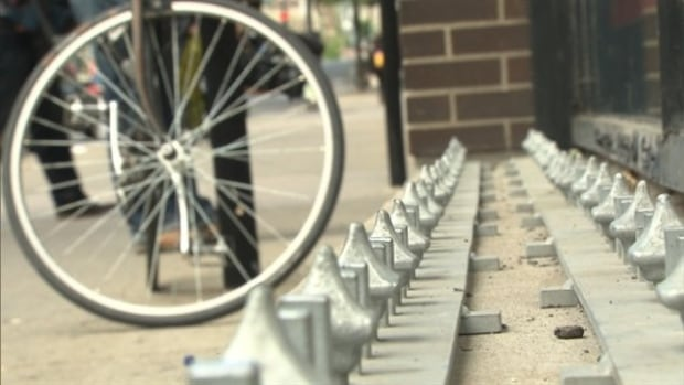 These controversial 'anti-homeless' spikes were quickly removed after they were installed in front of Archambault in downtown Montreal last summer.