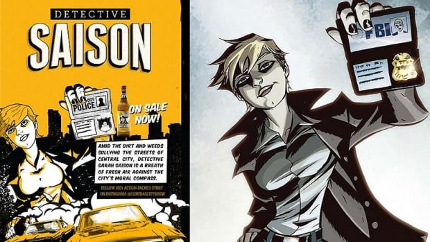 Central City Brewing got into a copyright snafu when its new cartoon label for Detective Saison brew turned out to be a dead ringer for a comic book FBI female cop Powers.