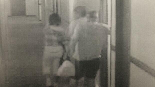 Surveillance video shows Cindy Gladue and Bradley Barton leaving Barton's hotel room.