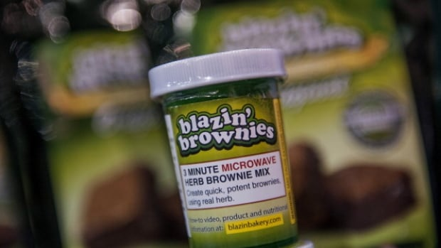 An instant brownie mix by Blazin' Brownies sits on display during the Champs Trade Show in Las Vegas, Nevada, U.S., on Tuesday, Jan. 21, 2014.
