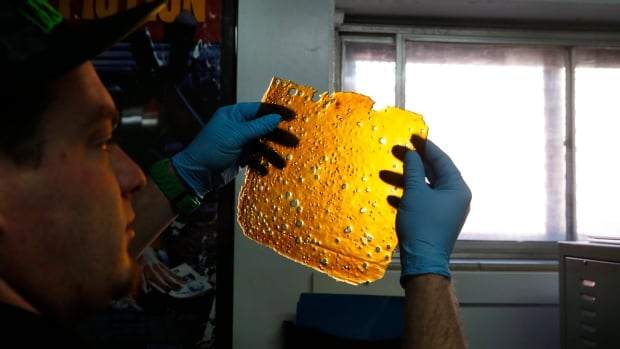 """A man is shown holding a sheet of THC concentrate known as """"shatter,"""" in a file photo taken in Denver, Colo., in May 2014."""