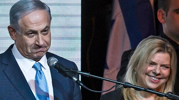 Benjamin Netanyahu and his wife Sara on election night in Tel Aviv. He won a surprise victory with what Israeli observers called a hard-right shift that saw him disavow a commitment to negotiate a Palestinian state.