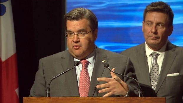 Montreal Mayor Denis Coderre announced Monday the city, province and federal government are investing $98.5 million to upgrade the wastewater treatment system at the city's Jean-R. Marcotte facility.